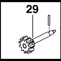 Pignon et axe d'entraînement couronne pour bétonnière Altrad 350 160004