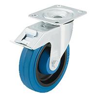 Roulette platine frein caoutchouc bleu Ø100 mm : 24141 PRODIF-SOMEC 024141