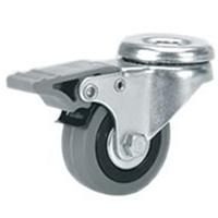 Roue en caoutchouc gris pivot et frein diamètre 100 mm PRODIF-SOMEC 004047