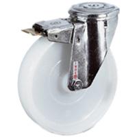 Roue polyamide blanche chape inox frein Ø100 mm PRODIF-SOMEC 004643