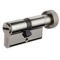 Cylindre à bouton européen Vachette Velix nickelé avec 5 clés - 30x30 mm