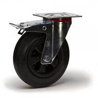 Roulette platine pivotante à frein noir Ø80 PRODIF-SOMEC 024336