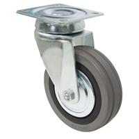 Roulette sur platine pivotante caoutchouc gris diamètre 50 mm PRODIF-SOMEC 022017