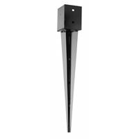 Pied de poteau carré à enfoncer 70x70 mm finition noire