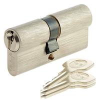 Cylindre de serrure nickelé Yale YC500+ avec 3 clés - 30x30 mm