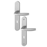 Poignée de porte clé en L New York Hoppe Alu aspect argent 3281961