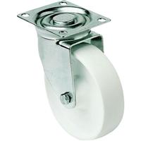 Roulette sur platine pivotante polypropylène blanche diamètre 80 mm PRODIF-SOMEC 22035