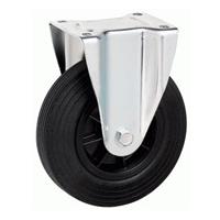 Roue standard fixe caoutchouc noir diamètre 200 mm : PRODIF-SOMEC 023276