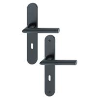 Poignée de porte clé en L Stockholm Hoppe Alu finition noir mat 11702540