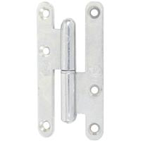 Paumelle droite bouts ronds droit acier zingué blanc NF - 80 x 40 mm