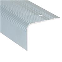 Nez de marche maxi strié percé Alu incolore 60 x 44 mm longueur 3 mètres Romus 15553