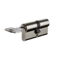 Cylindre sûreté 2 entrées Vachette 40 x 40 mm Acier nickelé 5 clés