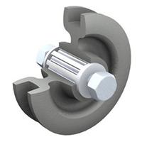Galet fonte pour rail rond 20 mm diamètre galet 102 mm force 150 kg Mantion 1008GR