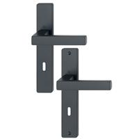 Poignée de porte clé en L Toulon Hoppe Alu finition noir mat 11639726