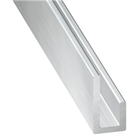Cimaise en Aluminium brut - largeur 10 mm - épaisseur 1.5 mm - longueur 1 m CQFD 2005-5290