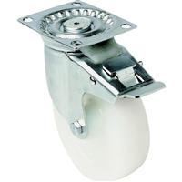 Roulette sur platine pivotante avec frein polypropylène blanc diamètre 100 mm PRODIF-SOMEC 024045