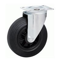 Roulette sur platine pivotante caoutchouc noir diamètre 100 mm PRODIF-SOMEC 022346