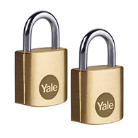 Cadenas s'entrouvrant Yale laiton 20 mm anse acier 3 clés  - lot de 2