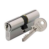 Cylindre à profil européen varié type double 5 pistons laiton nickelé 30 x 30 mm : Vachette - 7001 - 30X30