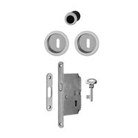 Set porte coulissante intérieure à condamnation clé L alu Hoppe axe 50mm
