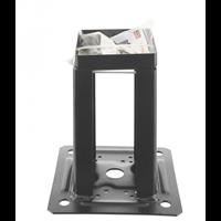 Pied de poteau carré noir pour claustras PPJNC avec fixation 70 x 70 mm